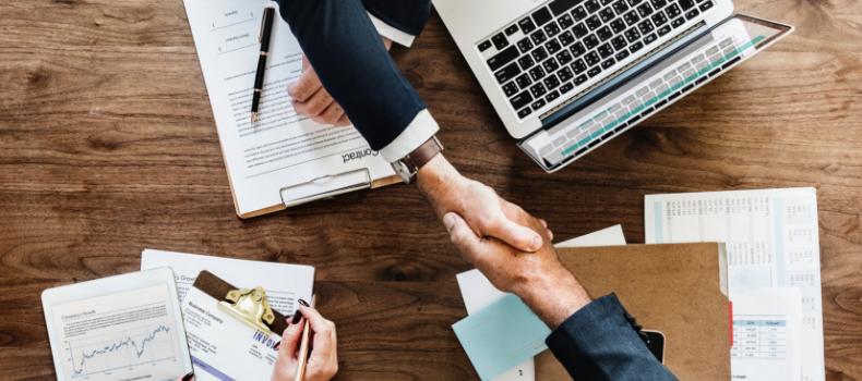 Hand shake business and finance